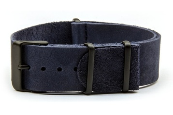Blue leather NATO strap with black PVD buckles'