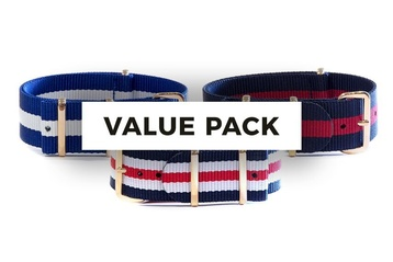 3 pack - NATO straps with rose gold buckles