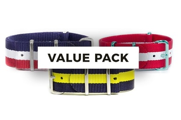 3 x 20mm Stripey NATO strap mix bag